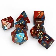 CHX26462 Gemini Red-Teal dice w/ Gold numbers