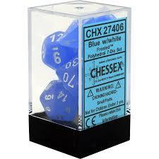 CHX27406 Frosted Blue dice w/ White numbers