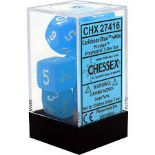 CHX27416 Frosted Caribbean Blue dice w/ White numbers