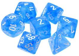 CHX27426 Borealis Sky Blue dice w/ White numbers