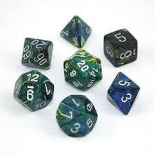 CHX27445 Festive Green dice w/ Silver numbers