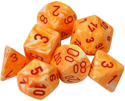 CHX27453 Festive Sunburst dice w/ Red numbers