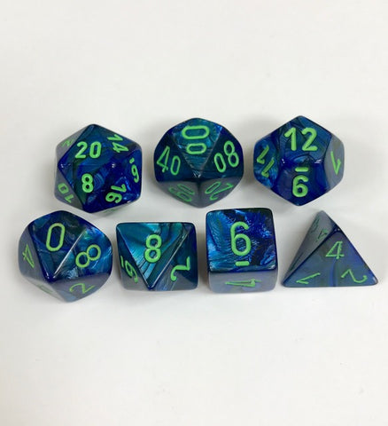 CHX27496 Lustrous Dark Blue dice w/ Green numbers