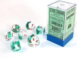 CHX30020 Lab Dice Gemini Mint Green-White dice w/ Orange numbers