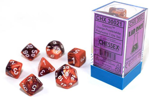 CHX30021 Lab Dice Gemini Orange-Purple dice w/ White numbers
