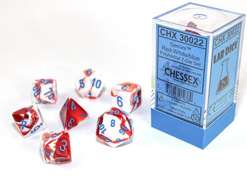 CHX30022 Lab Dice Gemini Red-White dice w/ Red numbers