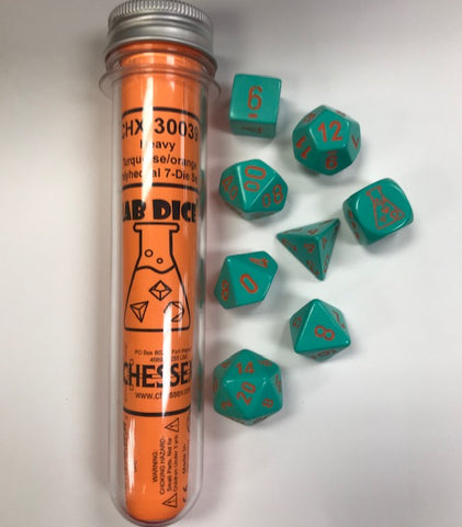Chessex CHX30039 Lab Dice Heavy Turquoise w/Orange Numbers