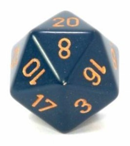 Chessex CHXXQ2026 D20 34mm Dusty Blue Die w/ Copper Numbers