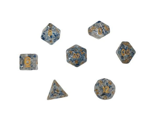 Dice Glitter Clear/Blue Flakes/Silver (Glass of Ages)