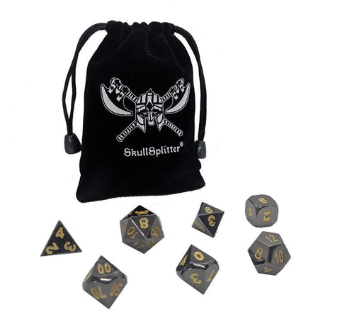 SkullSplitter Metal Dice Sets Black w/Gold Numbers