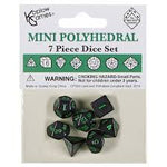 Koplow Mini Black dice w/Green numbers KPL18984