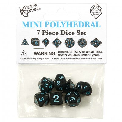 Koplow Mini Black dice w/ Blue numbers KPL19309