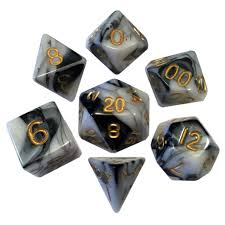 MDG LIC1038 Marble Black & White dice w/ Gold numbers