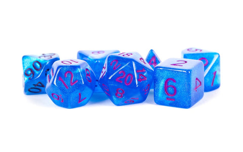 MDG LIC176 Stardust Blue dice w/ Purple numbers