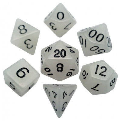 MDG LIC310 Glow in the Dark Clear dice w/ Black numbers