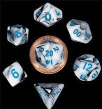 MDG LIC41032 Mini Marble Black & White dice w/ Blue numbers