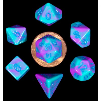 MDG LIC4172 Mini Purple & Teal Marble dice w/ Blue numbers