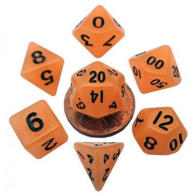 MDG LIC4304 Mini Glow in the Dark Orange dice w/ Black numbers