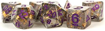 MDG LIC619 Foil Gold dice w/ Purple numbers
