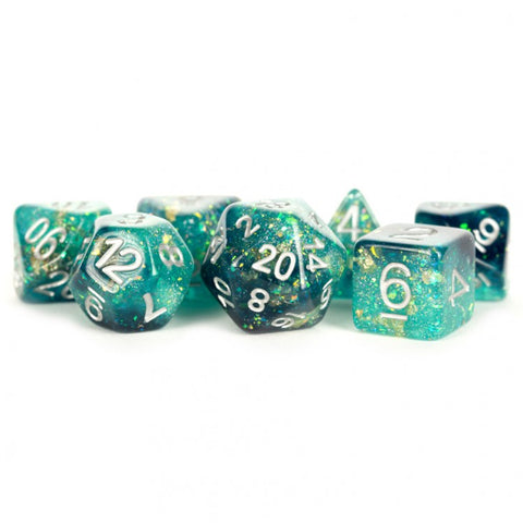 Metallic Dice Games LIC634 Eternal Teal & Black w/ White Numbers