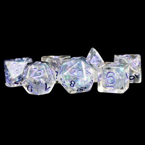 Metallic Dice Games LIC689 7-Set Pearl Clear w/Purple Numbers