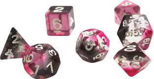 Sirius Dice Pink Black & Clear Dice w/ White numbers SDZ000201