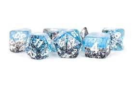 MDG LIC629 Blue dice w/ Black Particle & White numbers