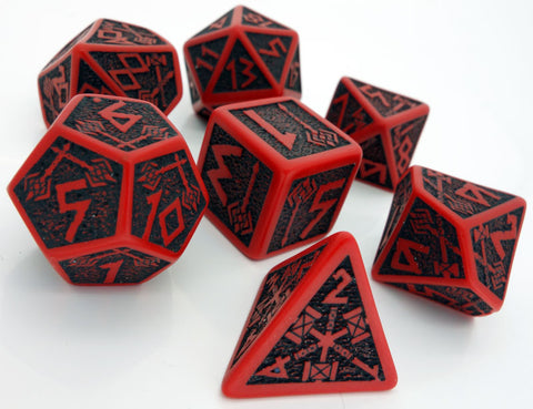 QWorkshop QWOSDWA04 Dwarven Dice Red with Black