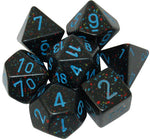CHX25338 Speckled Blue Stars Standard set of 7 dice.