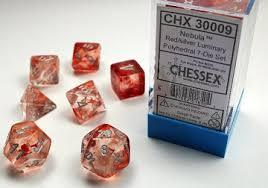 CHX30009 Lab Dice Nebula Red dice w/ Silver Luminary numbers
