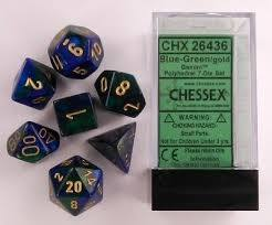 CHX26436 Gemini Blue-Green dice w/ Gold numbers