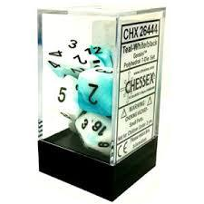 CHX26444 Gemini Teal-White dice w/ Black numbers