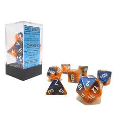 CHX26452 Gemini Blue-Orange dice w/ White numbers