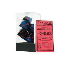 CHX26458 Gemini Black Starlight dice w/ Red numbers