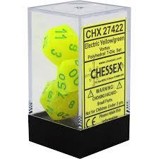 CHX27422 Vortex Electric Yellow dice w/ Green numbers