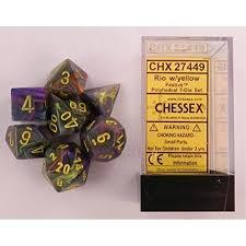 CHX27449 Festive Rio dice w/ Yellow numbers
