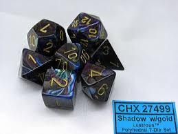 CHX27499 Lustrous Shadow dice w/ Gold numbers