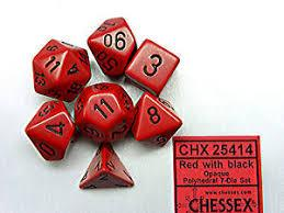 CHX25414 Opaque Red w/ Black numbers Standard set of 7 dice.