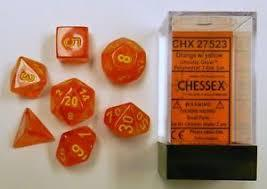 CHX27523 Ghostly Glow Orange dice w/ Yellow numbers