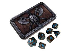 SkullSplitter Metal Dice Sets Black w/Blue Numbers