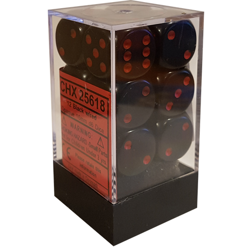 CHX25618 D6 Cube 16mm Black dice w/ Red Pips