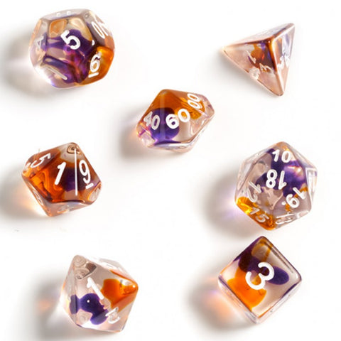 Sirius Dice SDZ000202 Purple, Orange & Clear Dice w/ White Numbers