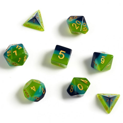 Sirius Dice SDZ000205 Green, Teal & Dark Blue Dice w/ Gold Numbers
