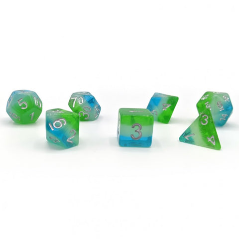 Sirius Dice SDZ000508 Blue Hawaiian Dice w/ Silver Numbers