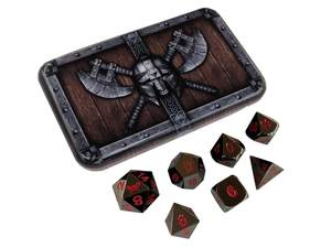 SkullSplitter Metal Dice Sets Black w/Red Numbers