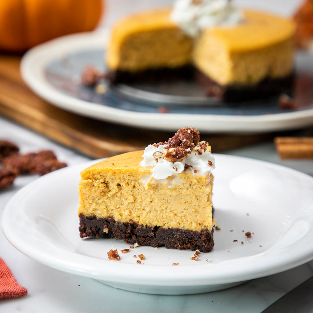 Pumpkin Cheesecake with a Bourbon Chocolate Cookie Crust
