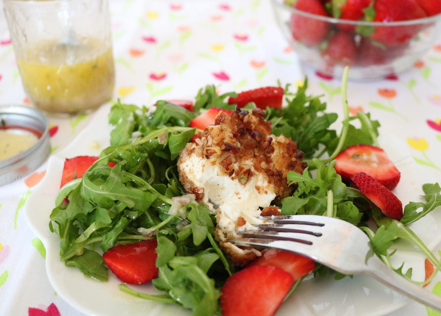 Cookie Encrusted Goat Cheese and Strawberry Salad