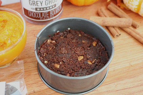 Grey Ghost Bakery Gourmet Cookies - Recipe - Pumpkin Cheesecake with Bourbon Chocolate Cookie Crust