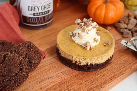 Grey Ghost Bakery Gourmet Cookies- Recipe- Pumpkin Cheesecake with Chocolate Bourbon Cookie Crust