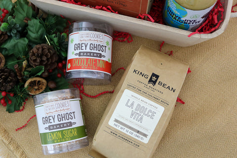 Grey Ghost Bakery Southern Entertaining Gift Basket King Bean Coffee and Cookies